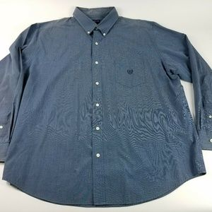 Chaps Men's XXL Blue Solid Easy Care Button Down